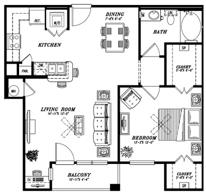 833 sq. ft. A4D floor plan