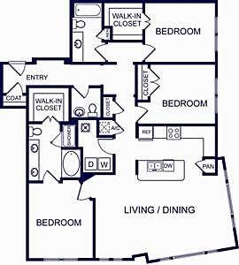 1,660 sq. ft. Valencia Four floor plan