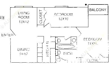 799 sq. ft. B-2 floor plan