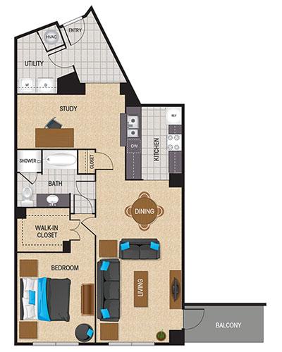 1,116 sq. ft. Chartreuse floor plan