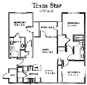 1,152 sq. ft. Texas Star floor plan