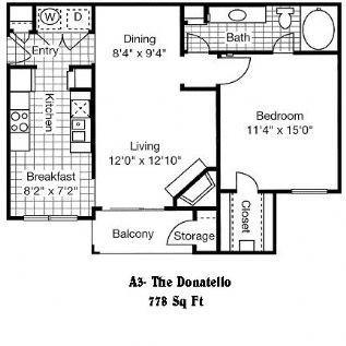 778 sq. ft. A3 floor plan