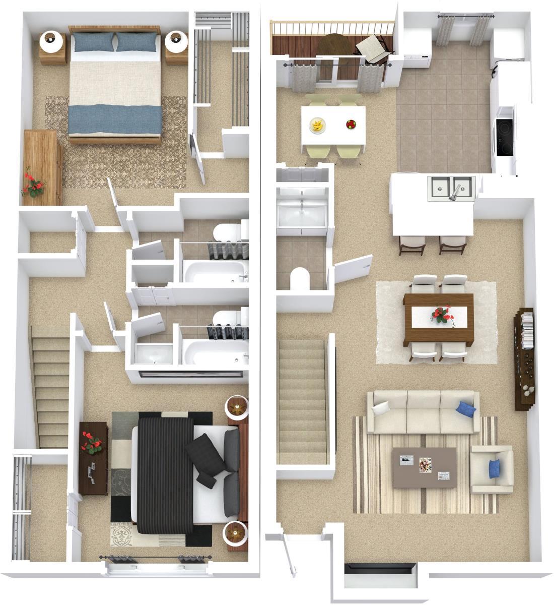 1,131 sq. ft. B8 floor plan