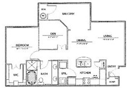 874 sq. ft. A3-Ph I floor plan