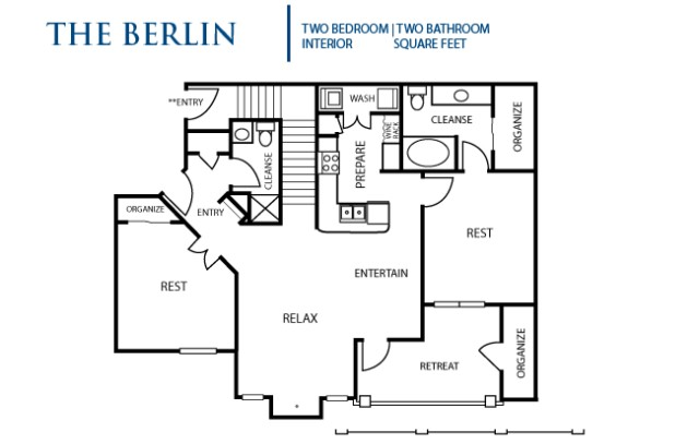 1,028 sq. ft. Berlin floor plan