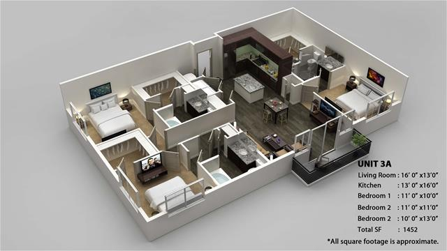 1,452 sq. ft. 3A floor plan