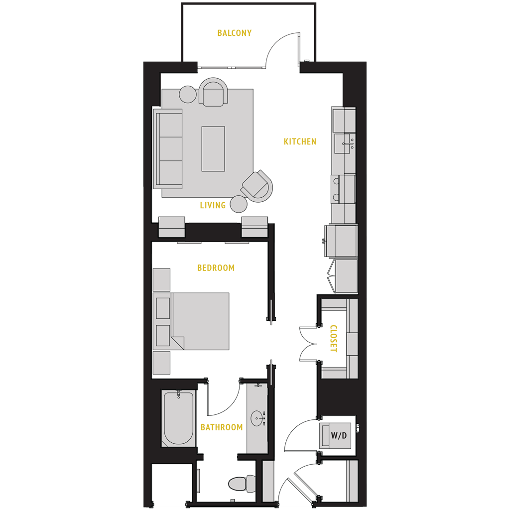 739 sq. ft. A1 floor plan