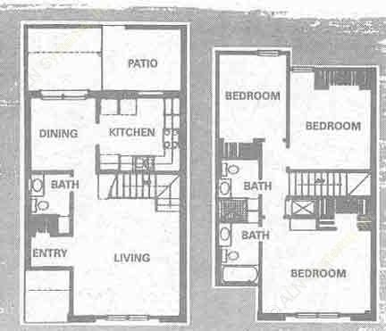 1,230 sq. ft. C floor plan