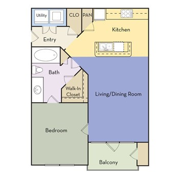 712 sq. ft. Savannah - A1C II floor plan