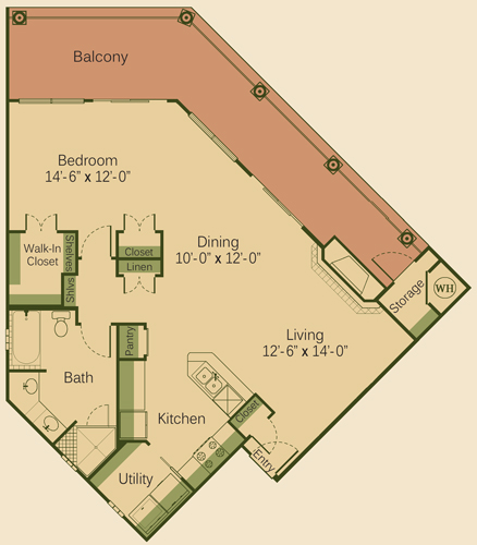1,043 sq. ft. 1CD-FP floor plan