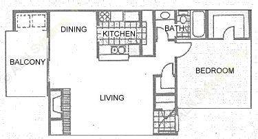 745 sq. ft. 1D1 floor plan