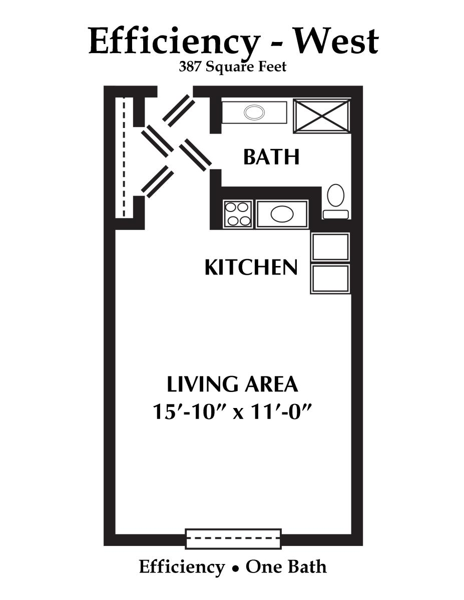 377 sq. ft. floor plan