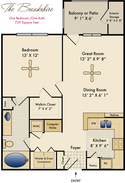 729 sq. ft. Brookshire floor plan