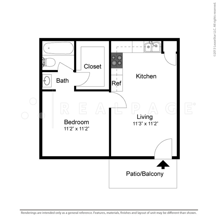 510 sq. ft. Kylee floor plan