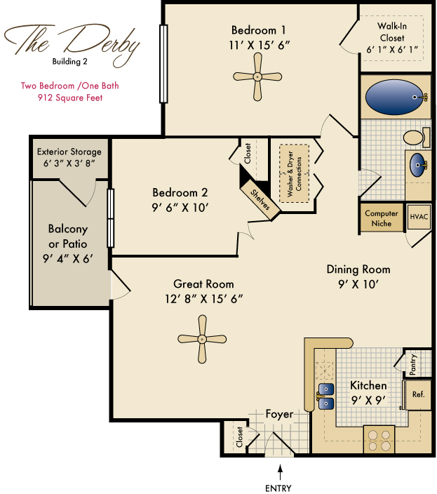 912 sq. ft. Derby floor plan