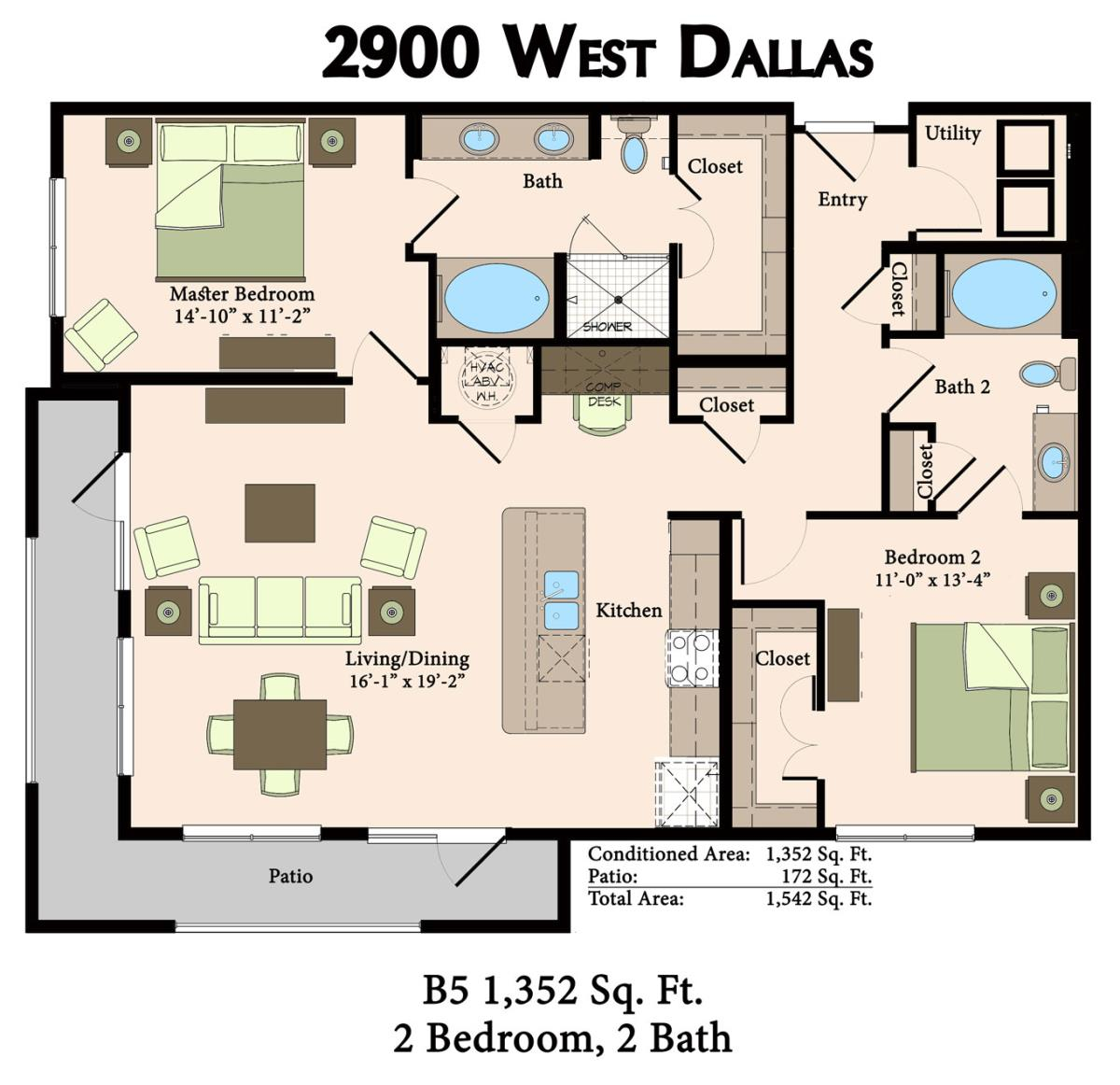 1,352 sq. ft. B5 floor plan