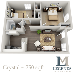 750 sq. ft. Crystal floor plan