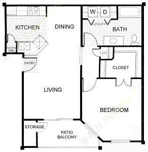 650 sq. ft. Artesian floor plan