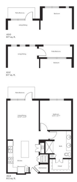 877 sq. ft. A3D floor plan