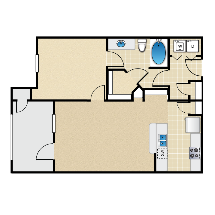 700 sq. ft. 30% floor plan