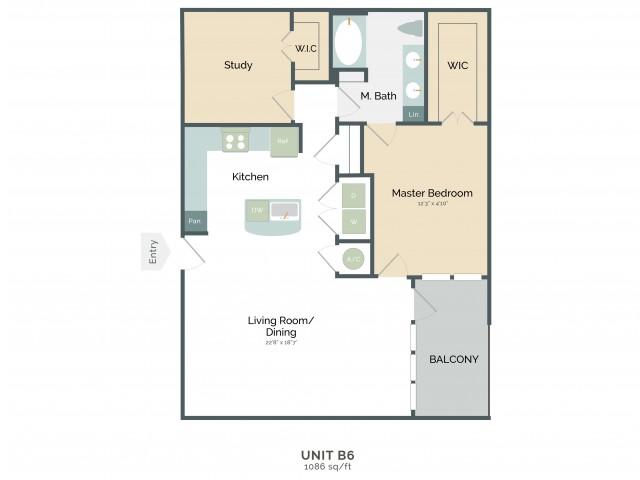 1,086 sq. ft. B6 floor plan