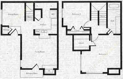 864 sq. ft. SB1 floor plan