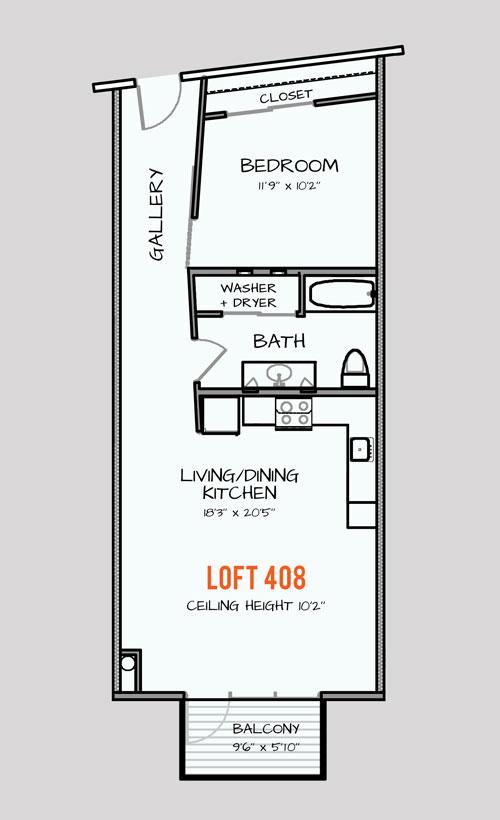 652 sq. ft. 301 floor plan
