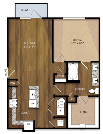 848 sq. ft. A4 floor plan