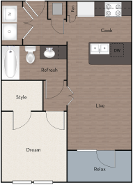 557 sq. ft. A2 ALT floor plan