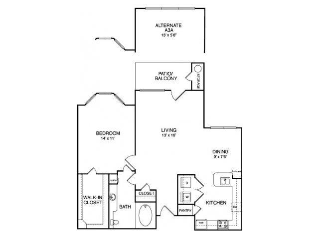 829 sq. ft. A6 floor plan