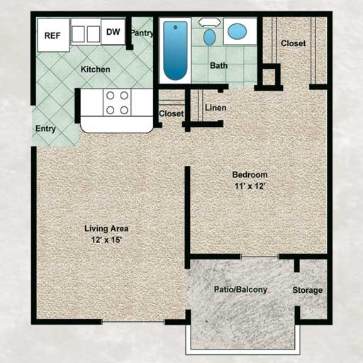 500 sq. ft. Willow floor plan