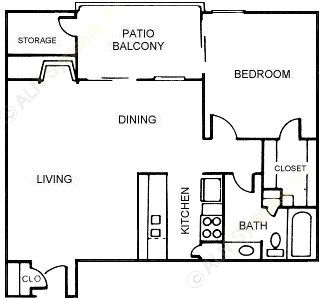 682 sq. ft. Juniper floor plan