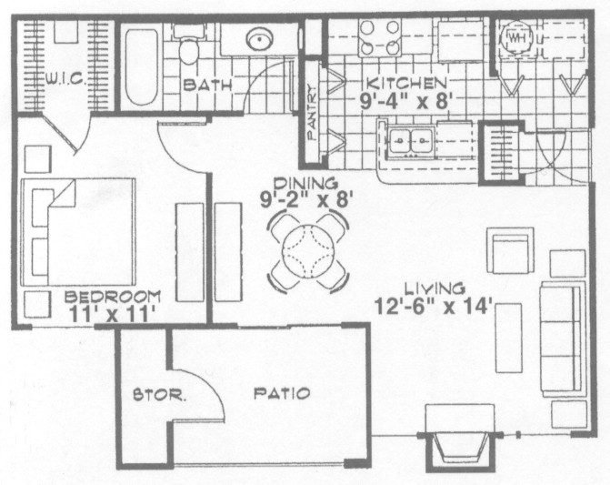 684 sq. ft. Cambridge floor plan