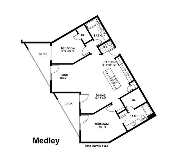 1,243 sq. ft. Medley floor plan
