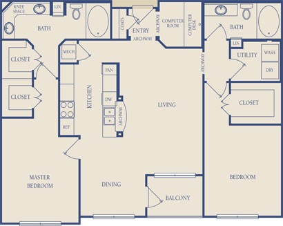 1,249 sq. ft. B2 floor plan