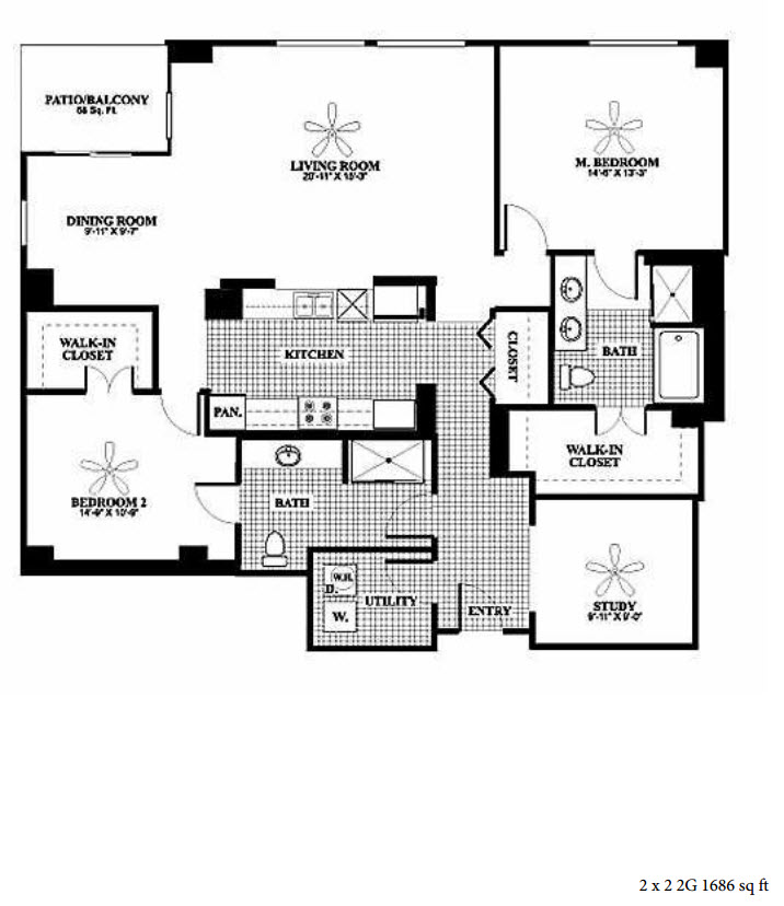 1,686 sq. ft. 2G floor plan