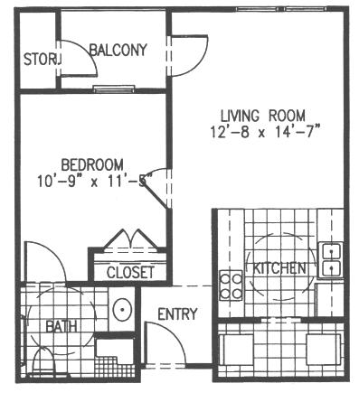 644 sq. ft. A2 floor plan