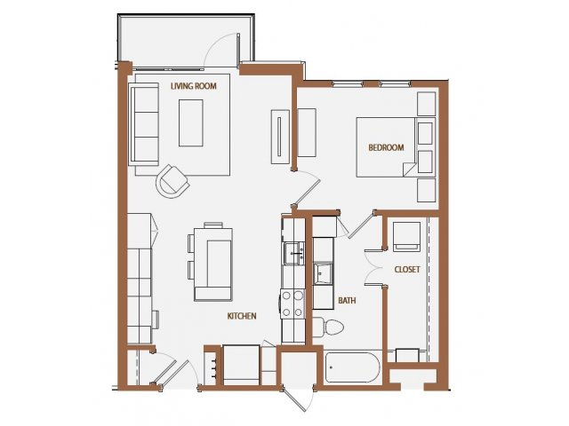 711 sq. ft. floor plan