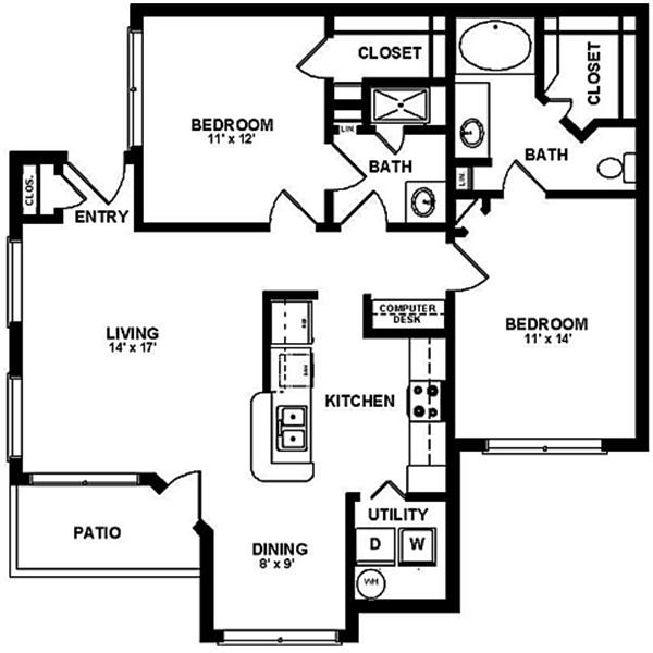 1,085 sq. ft. D1 floor plan