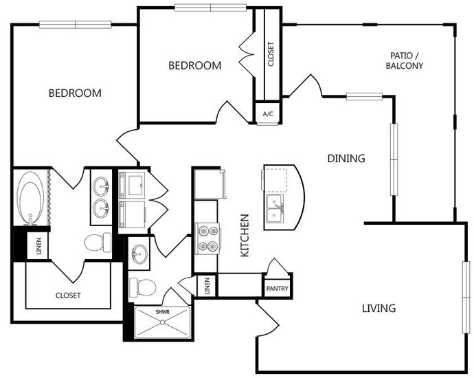 978 sq. ft. B1 floor plan