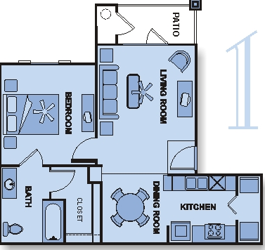 657 sq. ft. 60% floor plan