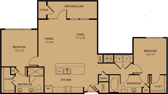 1,163 sq. ft. Wimberley floor plan