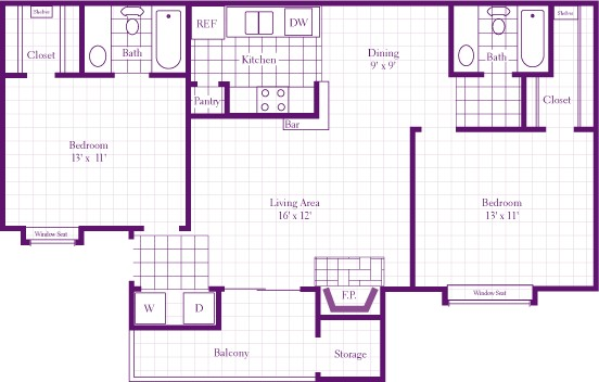 1,080 sq. ft. 2C floor plan