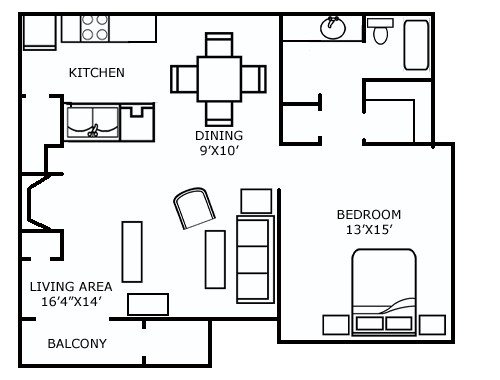 827 sq. ft. C floor plan