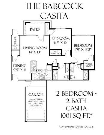 1,001 sq. ft. Babcock Casita floor plan