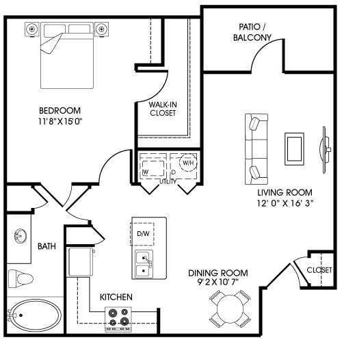 819 sq. ft. A1-B floor plan
