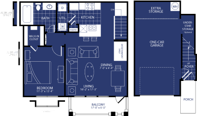 787 sq. ft. Aurora floor plan