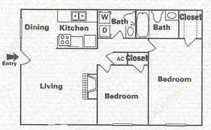 886 sq. ft. B-3 floor plan