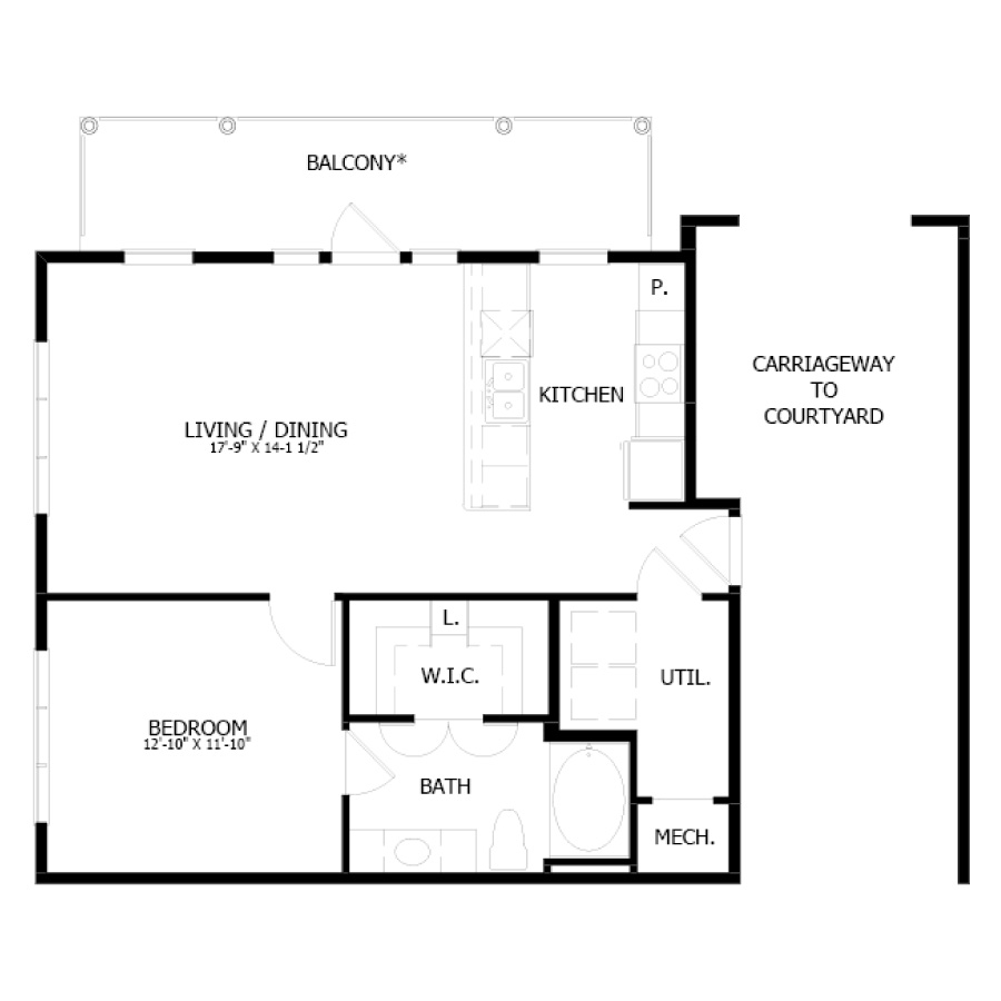 817 sq. ft. A9 floor plan