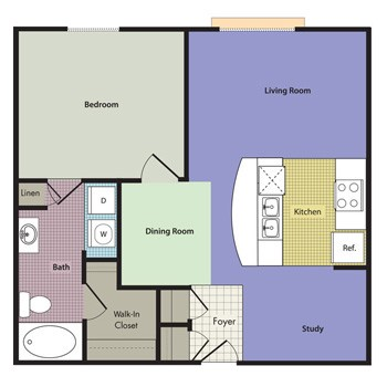 899 sq. ft. BELMONTE floor plan